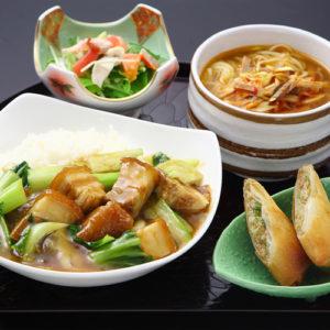 豚バラ肉あんかけご飯&葱チャーシュー麺セット