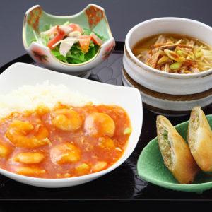 海老チリソースかけご飯&葱チャーシュー麺セット